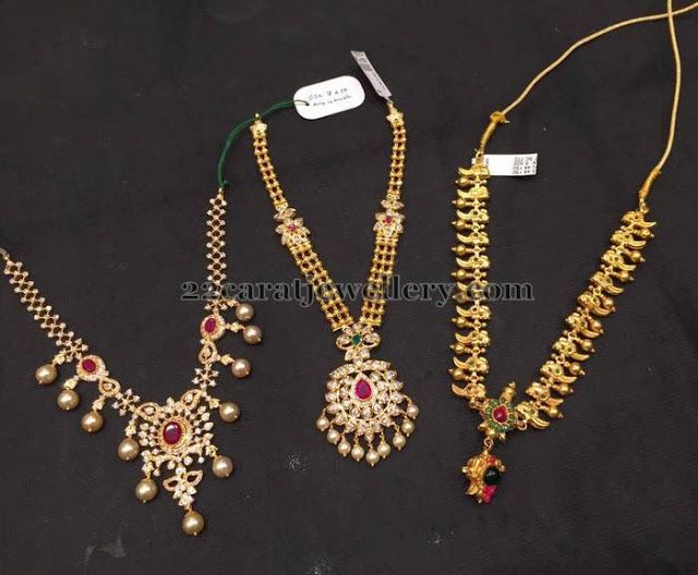 Jewellery designs simple 35 gms necklaces for all ages for Simple gold ornaments