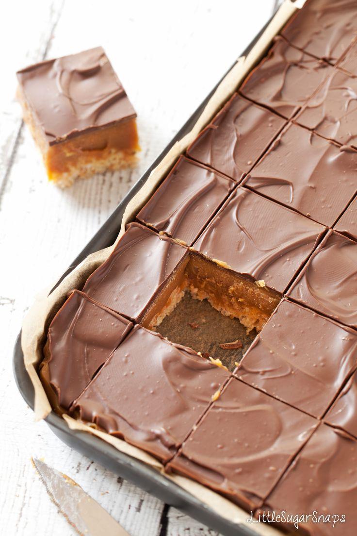 chocOlate covered millionaire's caramel krispie squares