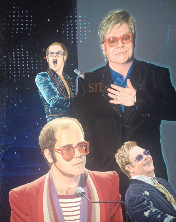 ELTON JOHN Artist WOZ fine art painting 'Elton John' acrylic on canvas 16x20 inch. Limited edition prints available on request.