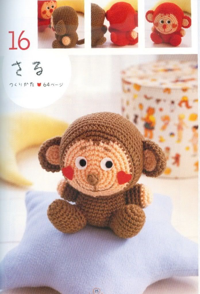 Crochet monkey patterns... I will learn to crochet this (one day...) GRANDMA KEELEY HELP!!! lol