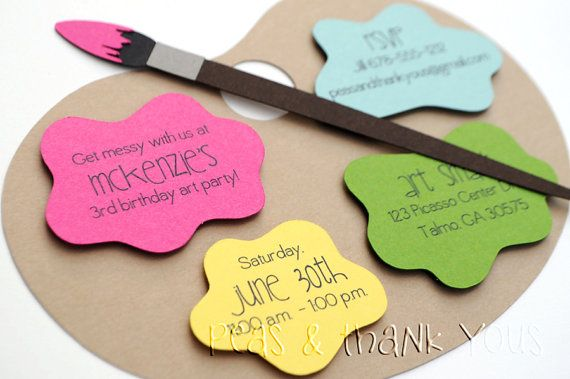 Girls Painting Party Invitations   Art Palette Painting Party Birthday by peasandthankyous on Etsy