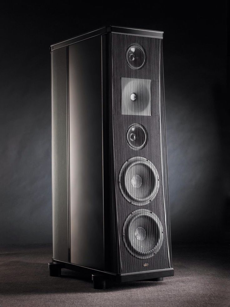 """The Gryphon Atlantis. ($30.000/pair) Three-way loudspeaker system; On-axis, time-aligned front baffle curvature; Hand-adjusted passive crossover network; Reinforced enclosures with extensive internal bracing; Custom made Danish 8"""" woofer and 5"""" midrange drive units"""