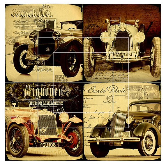 Old Car  4x4 or 38x38 inch tiles  5 Digital Collage by CobraPrints, $4.20