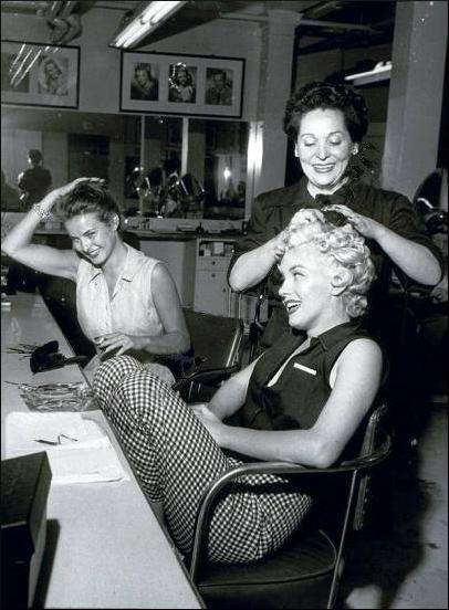 MM having her hair done.