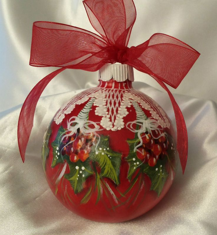 Hand Painted Christmas Ornament Cottage Chic Holly & Berries & Lace HP Glass
