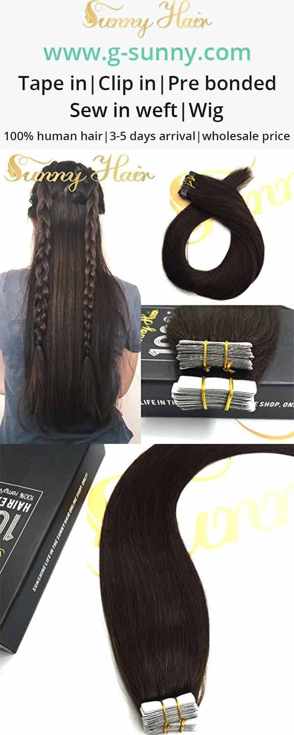 sunny hair dark brown tape in human hair extensions. g-sunny.com