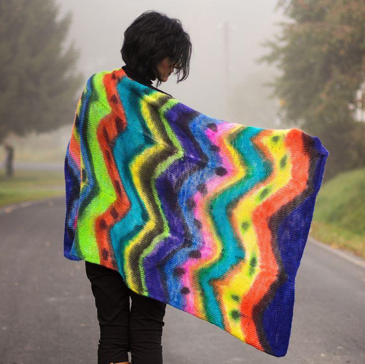 Afghan plaid - handspun, knitted, painted
