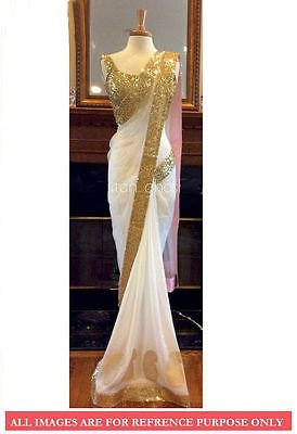 White Color Sequins Designer Indian Pakistani Ethnic Events Party Wear Net Saree