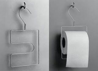*Wire Hanger re-bent for a toilet paper roll holder. Great for camping!