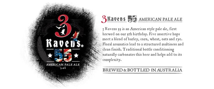 3 Ravens 55 American Pale Ale. Brewed in Thornbury, Victoria