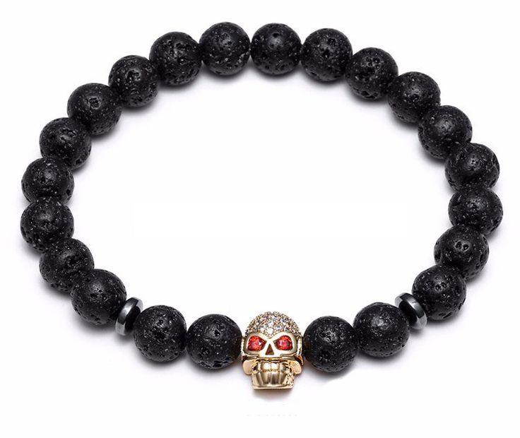 18kt Skull Lava Bracelet (4 colors)
