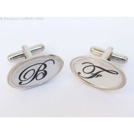 Custom Cufflinks - Personalised Initial Cufflinks (Oval) - made to order