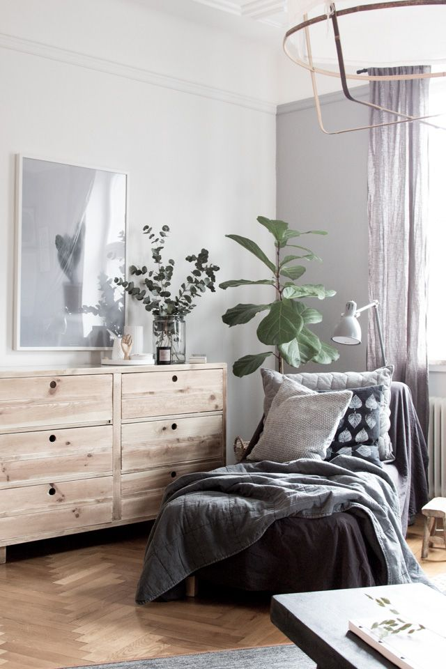 The beautiful bedroom of interior designer Genevieve Jorn. Dresser from Nordal.