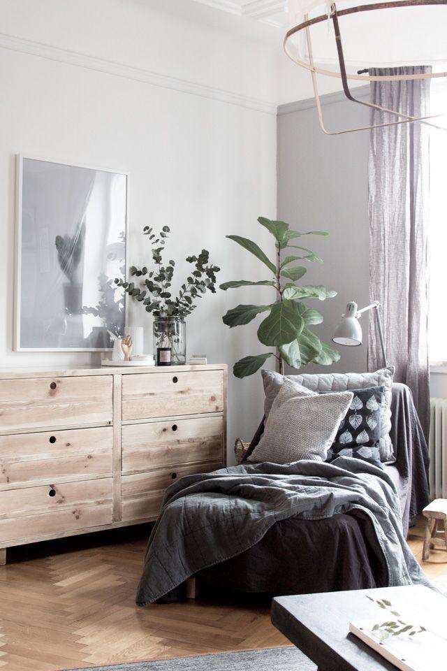 The beautiful bedroom of interior designer Genevieve Jorn. Dresser from Nordal.