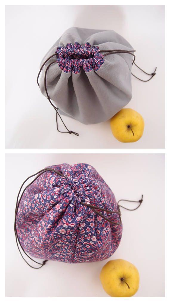 Réversible  Lunch bag  Sac à projet tricot  pochon à repas