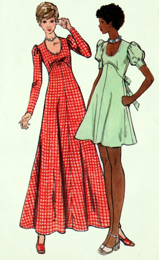 1970s Empire Maxi or Mini Dress with Scooped Neckline Butterick 6950 Vintage Sewing Pattern Womens Size 16 Bust 38 UNCUT