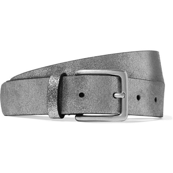 Anderson's Metallic textured-leather belt (£75) ❤ liked on Polyvore featuring accessories, belts, 100 leather belt, genuine leather belt, metallic leather belt, real leather belts and metallic belts
