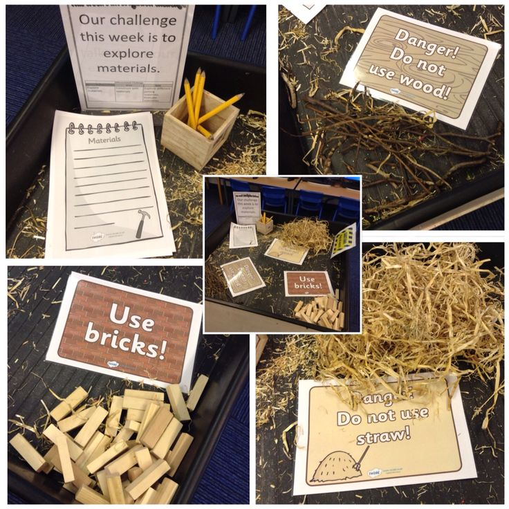 Three little pigs inspired investigation area. Materials provided for children to explore and develop thinking skills.