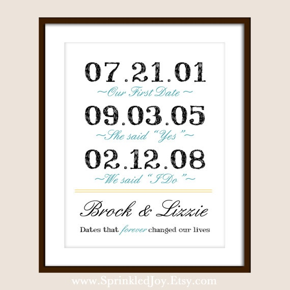 Important Dates Love Story Print for Unique Wedding, Bridal Showers, Anniversary Gifts:): Idea, Don'T Forget, Life, Stuff, Quotes, Don T Forget, Awesome 8X10, Be Awesome