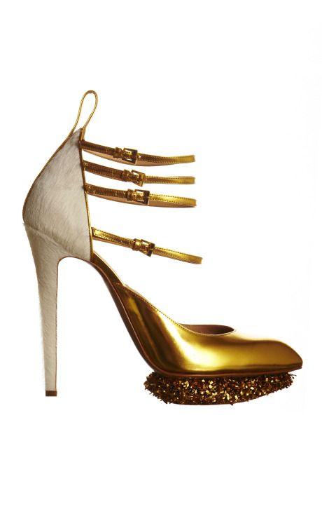 Nicholas Kirkwood para Prabal GurungShoes, Gurung Quadruple, Style, Straps Pump, Heels, Gold, Prabali Gurung, Nicholas Kirkwood, Quadruple Straps