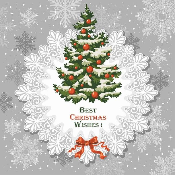 Vintage Christmas Card With Decorated Spruce   Buy This Stock Vector On  Shutterstock U0026 Find Other Images.
