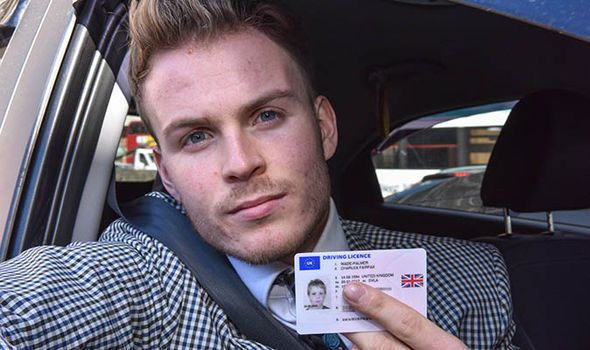 Wade-Palmer shows off his licence The DVLA carried over the same photo that Mr Wade-Palmer has had since his provisional six years ago