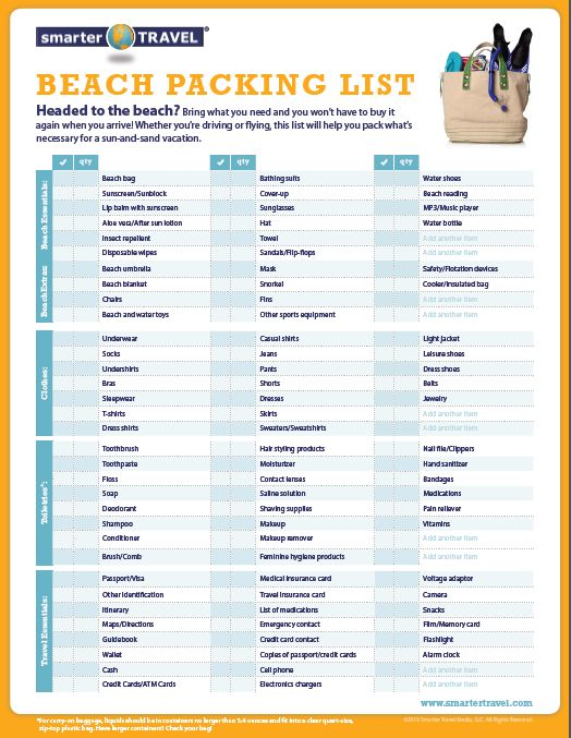 Vacation Pack List Google Search Travel Packing List