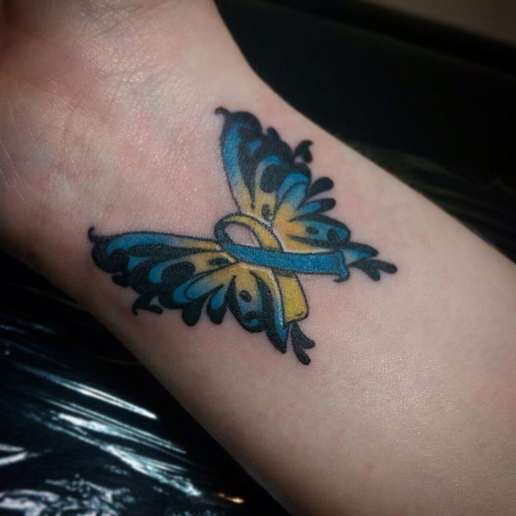 Downs Syndrome awareness tattoo #awareness #wings #tattoo #ink #colour #wrist #placement #tattooideas