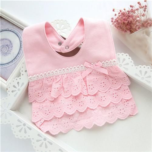 Cotton Lace Baby Bibs Bow Pink and White Bib Girls Lovely Bib 6A