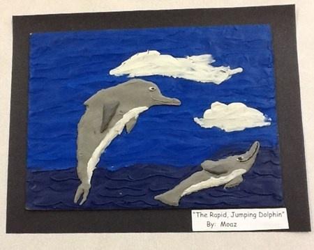"""The Rapid Jumping Dolphin"". Creating plasticine art based on the work of Barbara Reid"