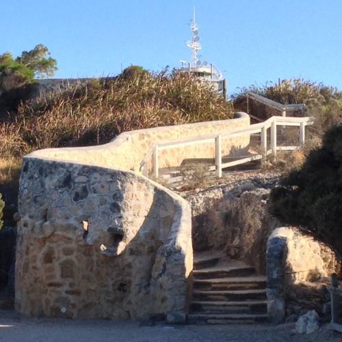 Stairs from Bathers Beach pathways up to the Round House (old Fremantle Gaol), Fremantle, Western Australia.