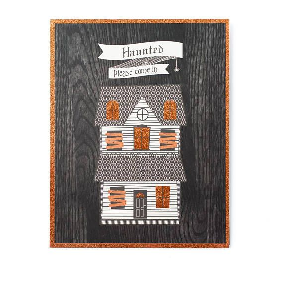SALE ~ Halloween Sign, Haunted House Standing Art, Haunted House