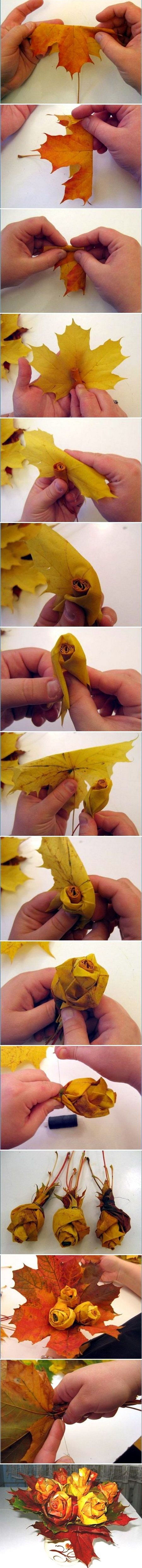 Rose bouquet made from fall leaves. This is a stunning idea. Imagine the possibilities! Lovely!
