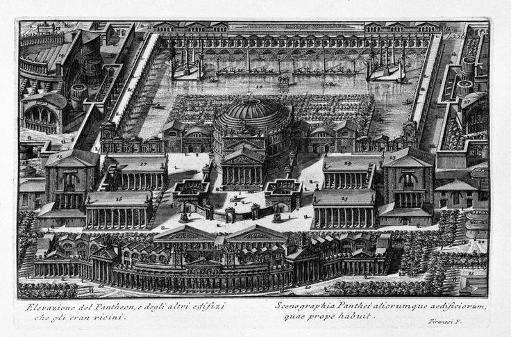 DSCN7694 2.jpg На средней гравюре показан знаменитый Пантеон и расположенные за ним сады, искусственное озеро и термы Агриппы.