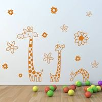 CHILDREN'S GIRAFFE WALL STICKER.  What a fun and cute animal wall sticker for your kids playrooms, nurseries and bedrooms! These three giraffes with flowers will quickly transform a room into a friendly and adventurous playground.  £29 + Free Delivery!