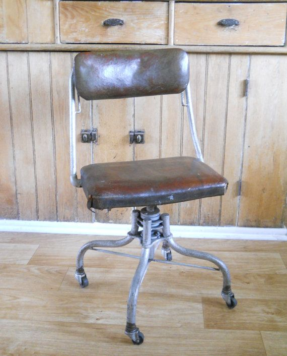 Vintage Rolling Industrial Office Chair  Historic Automotive