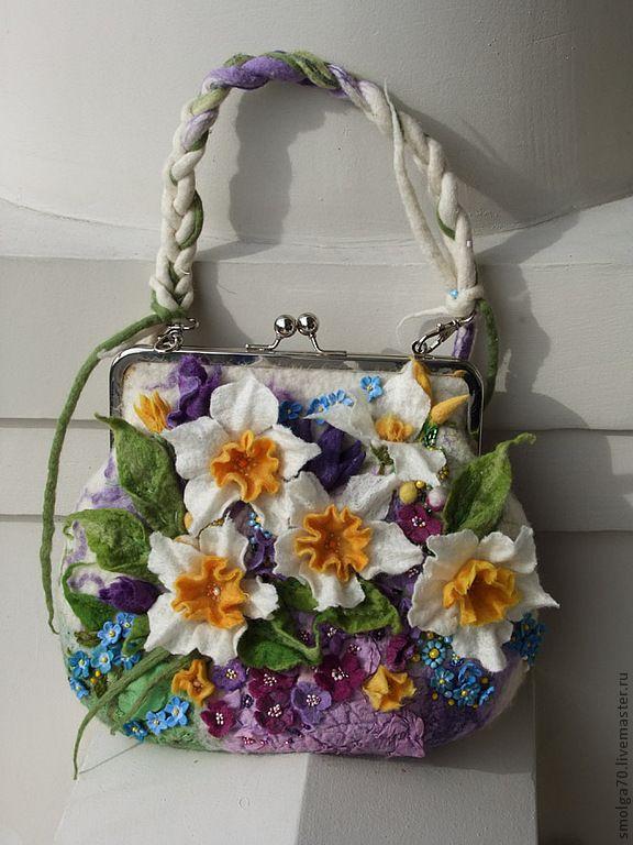 """Купить сумка """"Мартовский каприз"""" - белый, арт-сумка, нарциссы, весна, сумка с цветами, сиреневый"""