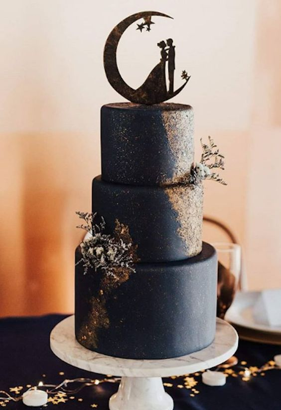Dark Midnight blue wedding cake with gold shimmer made with Satin Ice | Sweet Cravings By Marcia