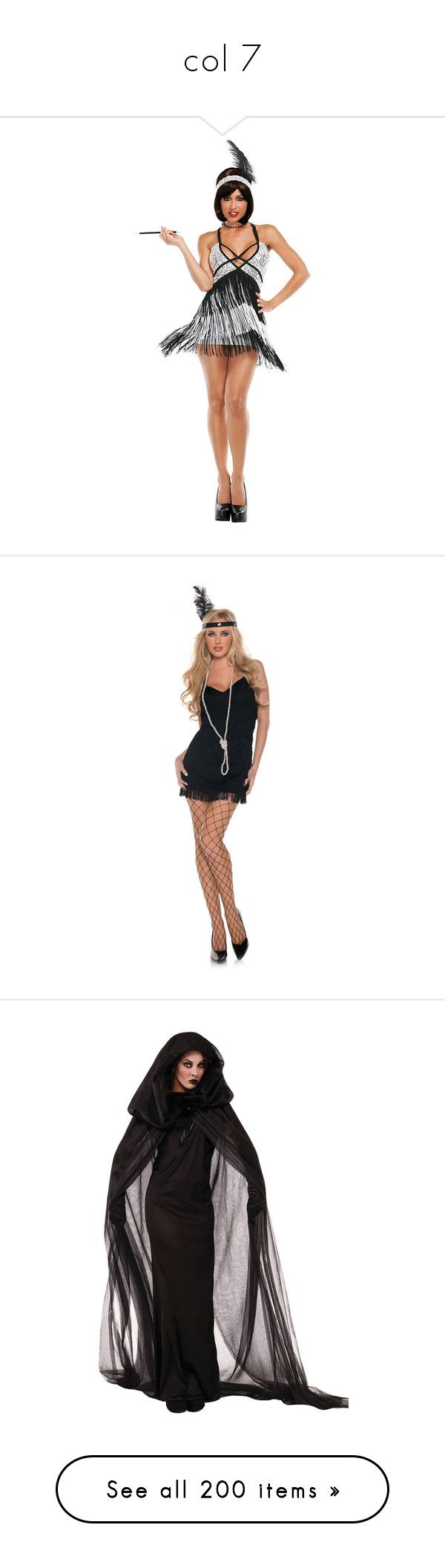 """""""col 7"""" by hogwartsdragoness ❤ liked on Polyvore featuring women's fashion, costumes, halloween costumes, multicolor, 1920s flapper costume, 1920s costume, sexy adult costumes, 20s flapper costume, sexy flapper costume y gatsby costumes"""