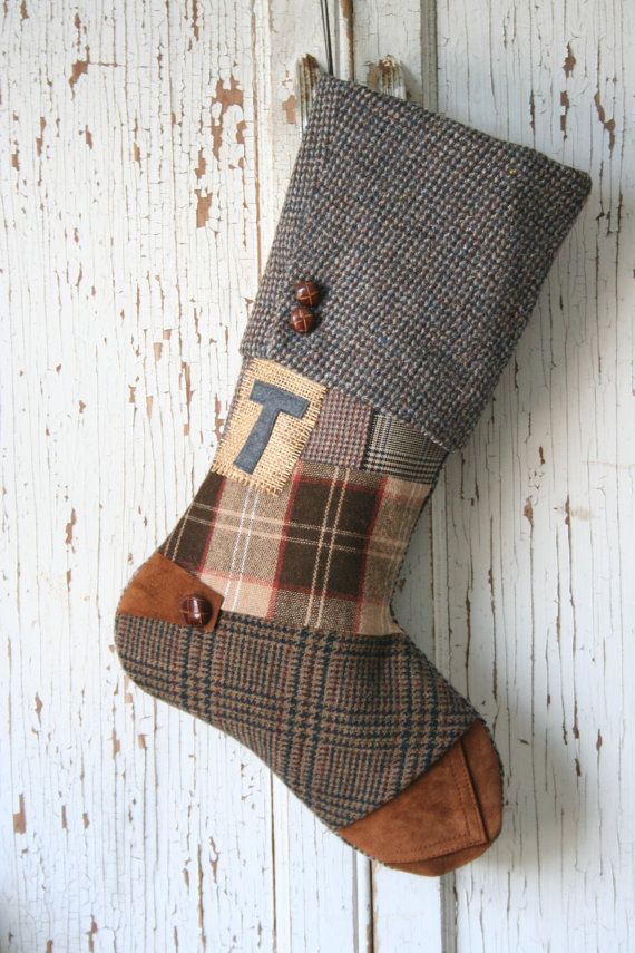 Bas de Noël de Tweed de laine recyclé Patchwork par SmokinTweed