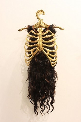 -The Last Bastion #5-    Artist: Dita Gambiro    Dimension:  50 cm × 125 cm    Media: Synthetic hair and brass