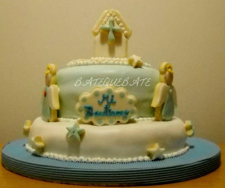 Torta bautismo decorada con galletas