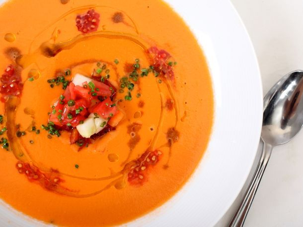 gazpacho, Andalucian-style... one of my favorite summer dishes, reminiscent of my host madre's in Sevilla. mmmmmm