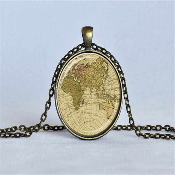 Старинные карты кулон старое карта мира ожерелье глобус карта ювелирные изделия путешественники подарок любителей картографических подарок бежевый темно лиловый зеленый купить на AliExpress