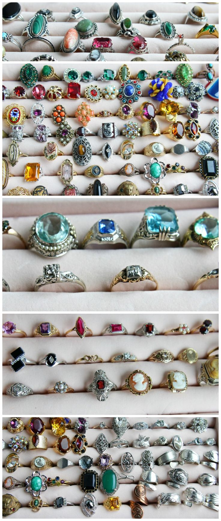 """Over 200 vintage & antique rings listed in www.maejeanvintage.etsy.com !  From costume, to sterling silver, to 18k white gold with diamonds! Diverse styles & prices to fit any budget. Whether it's an engagement ring, wedding ring, promise ring, right hand ring, cocktail ring, or """"just because"""" ring, we've got you covered!  Browse our rings here: https://www.etsy.com/shop/MaejeanVINTAGE?section_id=7131651"""