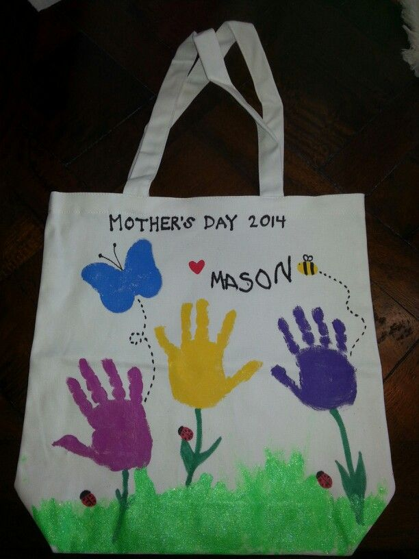 Cute tote bag for Mom's day. You can have your child use their fingerprints for the bee and ladybugs.  And if you are feeling very adventurous, the butterfly can be made from footprints. :-)