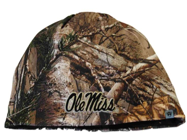 Ole Miss Rebels TOW Camo Brown Trap 1 Reversible Knit Winter Beanie Hat Cap
