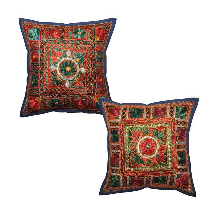 """Forros para cojines de importacion de la India, tiempo de entrega 20 dias. 41cm x 41cm #Decoracion #Colombia, solicite su cotizacion: norlu333@hotmail.com  16"""" Ethnic Indian Hand Embroidery & Mirror Work Cotton Cushion Cover Set of 2 #Handmade"""