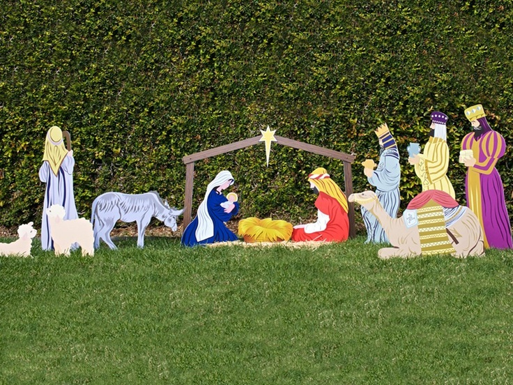 Classic outdoor christmas nativity scene full set i for Outdoor christmas scenes