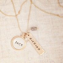 $85, personalized name necklace, name necklace, date necklace, anniversary gift ideas, wedding gift ideas, circle and tag necklace,  #threesistersjewelry #wearyourstory